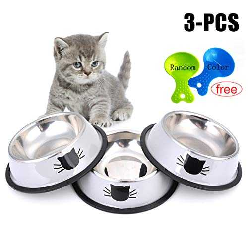Legendog Gamelle Chat,3 Pcs Bol Chat en Gamelle Chat INOX Facile à Nettoyer - Antidérapant - Motif d´impression 3D Conçu pour Les Chats
