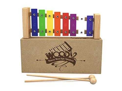 Wooden Xylophone with Songbook for Kids: Best for Your Little Musician - A Percussion Instrument with Multi-Colored Metal Keys and Two Child-Safe Wooden Mallets with 30 Nursery Rhymes Music Sheet