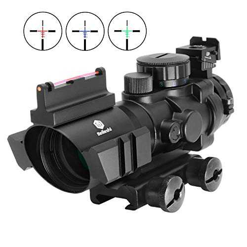 Beileshi Optics 4x32 Red/Green / Blue Triple Rapid Range Reticle Rifle Scope with Illuminated Fiber Optic Sight and That Top Slots