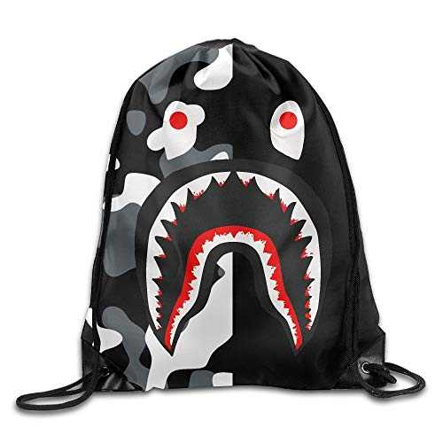 GONIESA Bape Blood Shark Black Camo Drawstring Backpack Sack Pack Bag Rucksack Kids Adults Shoulder Bags for Gym Traveling