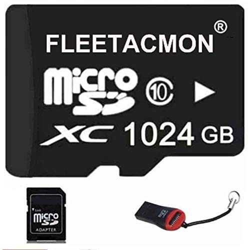 FLEETACMON 1024GB Micro SDHC SD TF Memory Card Class10 with Micro SD Adapter 1024G 1TB Black   Reader