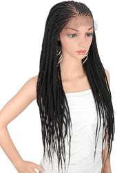 "Kalyss 28"" Hand-Braided 13X6"" Lace Frontal Slant Side Part Cornrow Braids Perruques avec des Cheveux de Bébé pour les Femmes Noires Noir Synthétique Léger Attaché à la Main"
