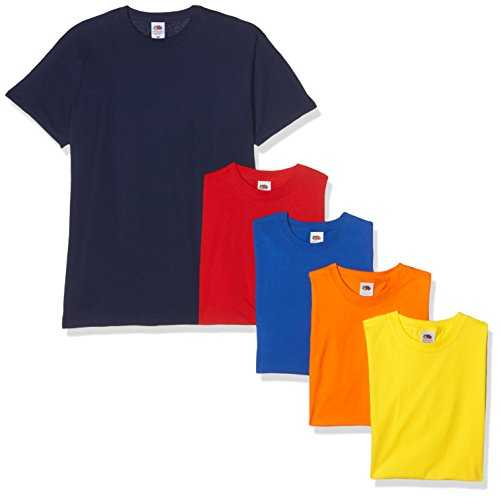 Fruit of the Loom Valueweight Short Sleeve T-Shirt, Multicolore (Navy/Red/Orange/Royal/Yellow 32/40/44/51/K2), L (Pacco da 5) Uomo