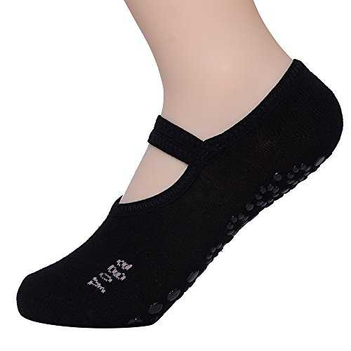 FunRun Non Slip Skid Women Pilates Yoga Socks Dance Mat Massage Socks With Grips Best Fitness Dance, Pilates, Ballet Barre ,Sports For Woman Size Shoe Size UK 2.5-7 /EU 35-40,Black