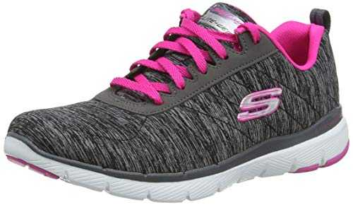Skechers Flex Appeal 3.0-insiders, Baskets Femme,Noir (Black & Charcoal Mesh/Hot Pink Trim Bkhp),36 EU