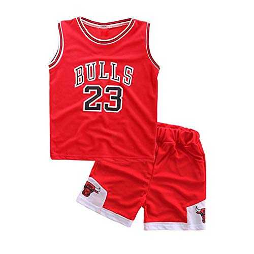 MIMIGA Ensemble de Basket-Ball NBA N ° 23 NBA Bulls Jordan Lakers James Uniformes de Sport pour Les garçons sans Manches Sportswear Respirant Shorts Costumes