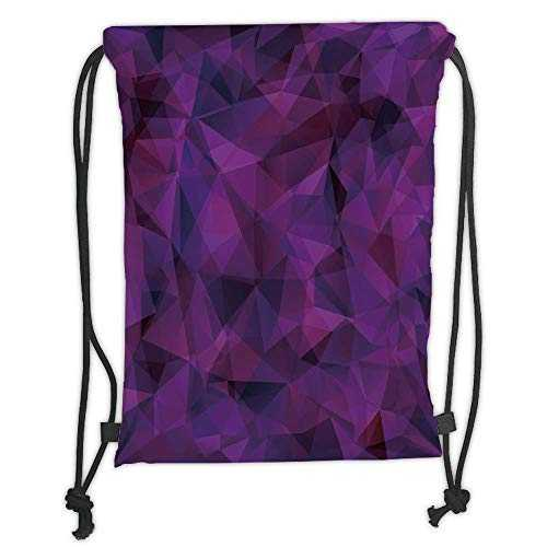 Trsdshorts Drawstring Backpacks Bags,Indigo,Broken Glass Inspired Geometric Triangle Abstract Shapes,Eggplant Purple Lilac and Burgundy Soft Satin,5 Liter Capacity,Adjustable String Closure,T