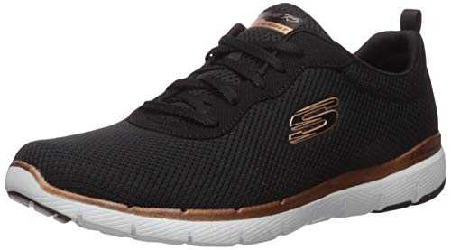 Skechers Flex Appeal 3.0-First Insight, Baskets Femme - Noir Noir(Black Mesh/Rose Gold Trim Bkrg),39 EU