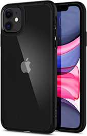 Spigen Coque iPhone 11 [Ultra Hybrid] Bumper Noir en TPU Souple, Dos Transparent Rigide en PC, Protection - [Air Cushion] Coque Compatible avec iPhone 11 (2019)