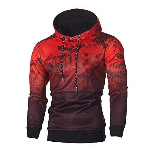 MORCHAN Manches Longues Hommes Camouflage Sweat à Capuche Top Tee Outwear Chemisier(X-Large,Rouge)