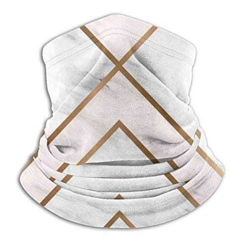 Zcfhike Gold Geometric Shapes Winter Fleece Neck Warmer, Thick Long Neck Gaiter Tube, Windproof Balaclava Beanie Neck Warmer Hood Elastic Universal Size