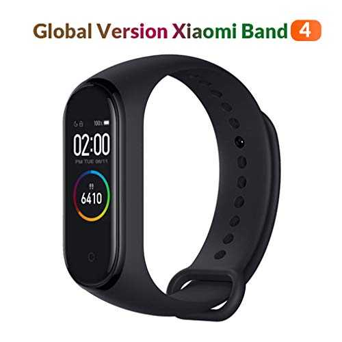 "Xiaomi MiBand Bracelet 4 (Global Version) Fitness Tracker 0,95"" Écran Couleur AMOLED, Mixte, Noir"