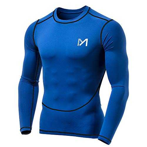 MEETYOO Tee Shirt Compression Homme Manche Longue, Baselayer Maillot Running Vetement Fitness pour Sports Jogging Musculation