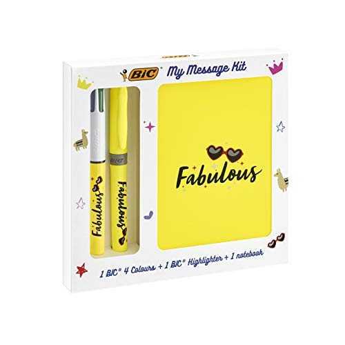 BIC My Message Kit Fabulous - Kit de Papeterie avec 1 Stylo-bille BIC 4 couleurs/1 Surligneur BIC Highlighter Grip Jaune/1 Carnet de Notes A6 Blanc, Pack de 3