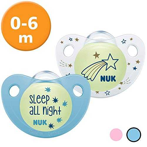 NUK 10175239 Trendline Night & Day - Chupete de silicona con efecto luminoso (0-6 meses), color azul