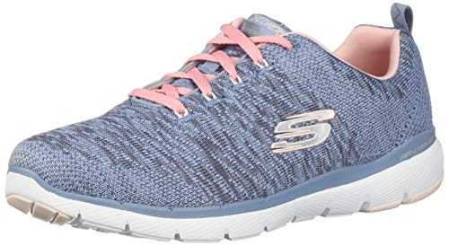 Skechers Flex Appeal 3.0, Baskets Femme Gris (Slate & Pink Knit Mesh/White Trim Sltp) 37 EU