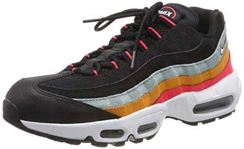 Nike Air Max 95 Essential, Chaussures de Running Mixte Adulte, Noir White/Ocean Cube/Kumquat/Red Orbit/Black 002, 42 EU
