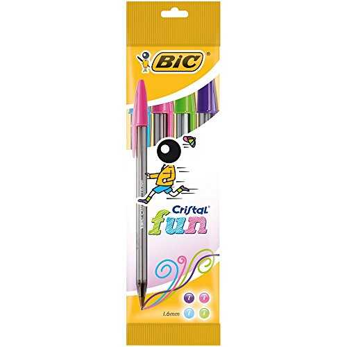 BIC 895792 536981 Cristal Fun Stylos-Bille Pointe Large, Pochette de 4, 1,6 mm, Couleurs Assorties