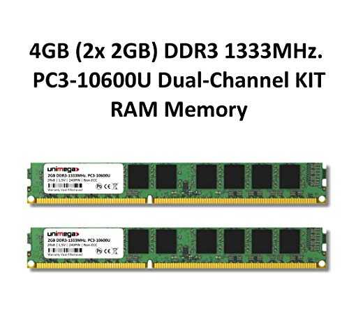 4 GB (2 x 2 GB) Dual Channel Kit DDR3 1333 MHz PC3 – 10600U 240pin 2RX8 PC Memoria Memory Trabajo