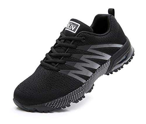 Azooken Homme Femme Sneakers Chaussures de Course Running Sport Fitness Gym Outdoor athlétique Multisports Casual(8995 Black42)