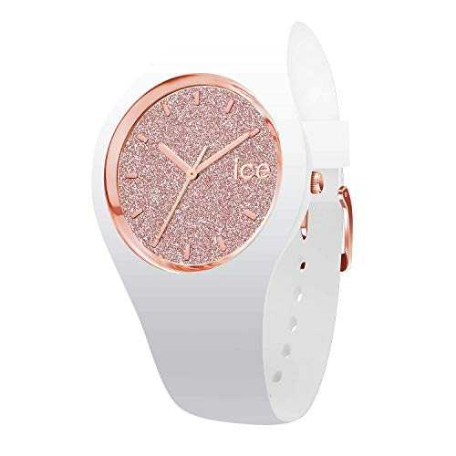 Ice-Watch - Ice Glitter White Rose-Gold - Montre Blanche pour Femme avec Bracelet en Silicone - 001350 (Medium)