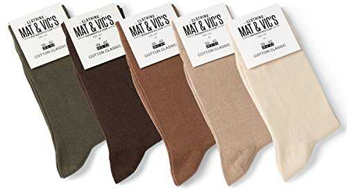 Mat And Vic's Chausettes, Confortables, Respirantes - Earth Colors - Lot de 5 paires 39-42