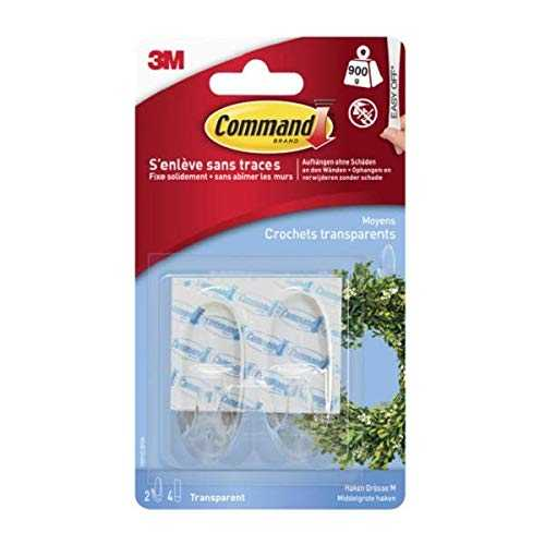 Command Crochets Ovales Moyens Transparents, 2 Crochets 4 Languettes, 900 g