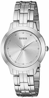 GUESS Women´s Stainless Steel Petite Casual Watch, Color: Silver-Tone (Model: U0989L1)