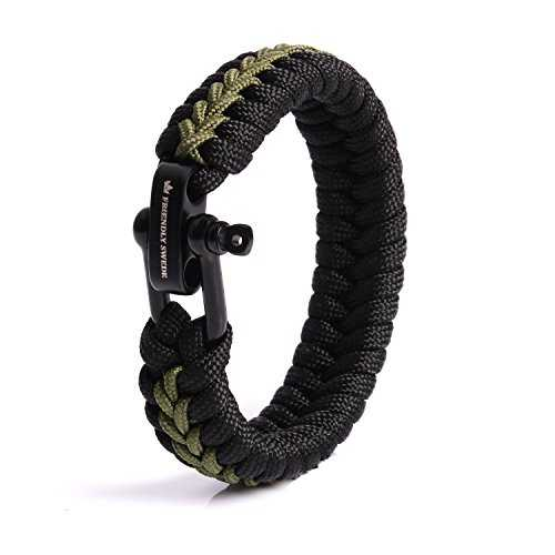 The Friendly Swede paracorde Survival Bracelet avec Micro – Taille réglable, Armeegrün Small