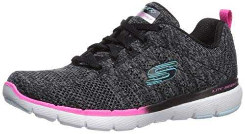 Skechers Flex Appeal 3.0-Reinall, Baskets Femme, ,Noir(Black Mesh/Multi Trim Bkmt),4.5 (37.5 EU) EU