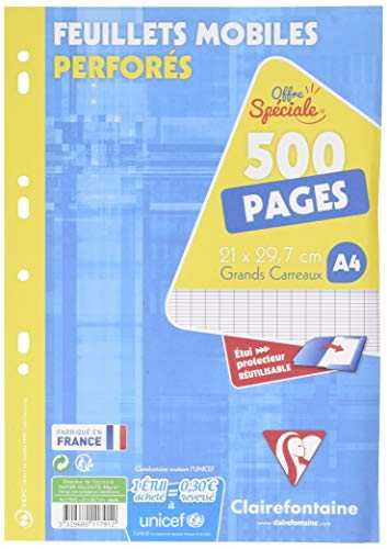 ClaireFontaine 11791C - Un é‰tui carton de 500 pages Feuillets Mobiles perforés blancs 21x29,7 cm 90g grands carreaux