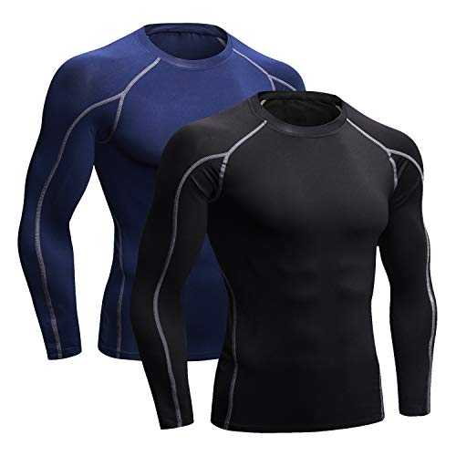 Niksa Tee Shirt Compression Homme Manches Longues Maillot Compression Running Baselayer Noir Marine L