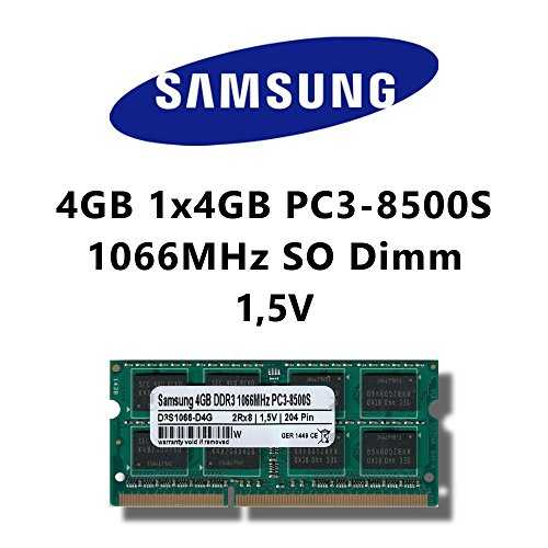 Samsung 4 GB (1 x 4 GB) DDR3 1066MHz (PC3 8500S) SO Dimm Notebook Laptop RAM Memory
