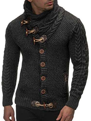 LEIF NELSON Gilet Tricot col Large - Homme LN4195, Anthrazit, L