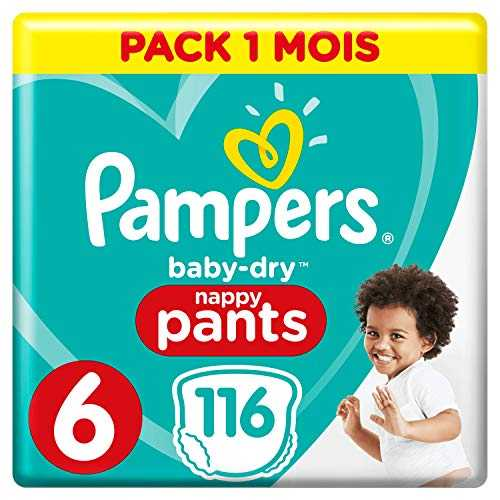 Pampers - Baby Dry Pants - Couches-culottes Taille 6 ( 15 kg) - Pack 1 mois (x116 culottes)