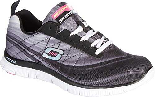 Skechers Flex Appeal Pretty Please Womens Sneakers Black/White 9
