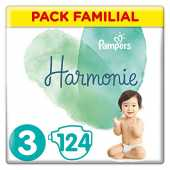 Couches Pampers Taille 3 (6-10 kg) - Harmonie Couches, 124 couches, Pack Familial