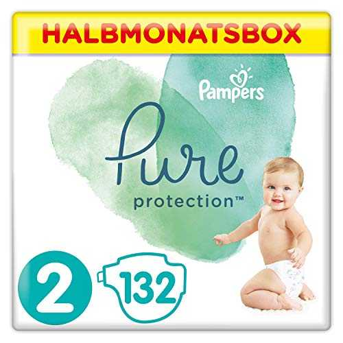 Pampers Pure Protection Windeln, Größe 2, 132 Windeln, 4-8 kg, Halbmonatsbox