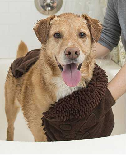 Dog Gone Dirty Dog Shammy Towel Cleaner Drier Soft Fabric Dual Hand Pocket Brown