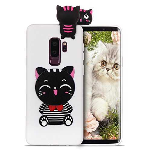 RosyHeart Coque pour Samsung S9 Silicone Samsung Galaxy S9 Souple Gel TPU Etui 3D Mignon Design Flexible Soft Backcover Anti Choc Housse de Protection,Chat Visage Mignon Noir