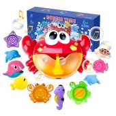 Joyjoz Juguetes De Baño Cangrejo Bubble Toys Bath Squirters Toys Stacking Cups Bubble Machine con música para niños pequeños