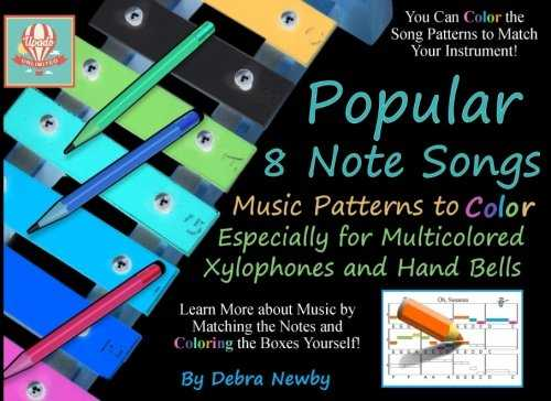 Popular 8 Note Songs Music Patterns to Color: Especially for Multi-colored Xylophones and Hand Bells