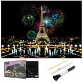 Scratch Art für Erwachsene, Scratch Paper Rainbow Painting Skizzenblöcke DIY Art Craft Nachtsicht Scratchboard mit sauberem Pinsel, Scratch Malstift, 16 x 11,2 Zoll (Fireworks Paris)