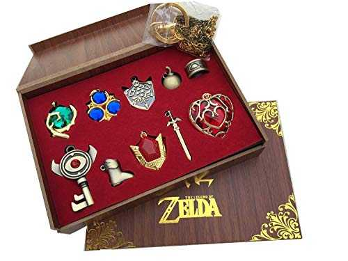 2015 new The Legend of Zelda Twilight Princess & Triforce Hylian shield and sword master key ring legend / necklace / jewelry series in wooden box (Red -10 sets)