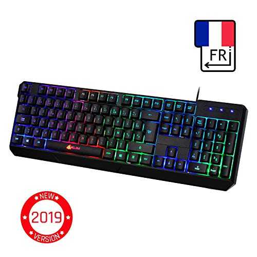KLIM™ Chroma Clavier Gamers Filaire - AZERTY FRANÇAIS - Haute Performance - USB Clavier Ergonomique Eclairage Chromatique Gaming Noir RGB - PC, PS4, Xbox One, Portable [ Nouvelle Version 2019 ]