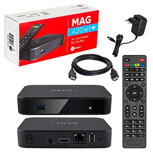 MAG 420w1 Original Kit Infomir & HB-DIGITAL IPTV 4K TOP Box multimédia player Internet Récepteur IPTV # 4K UHD 2160p@60 FPS HDMI 2.0 HEVC H.256 # ARM Cortex-A53 # WiFi WiFi (802.11n)   câble HDMI