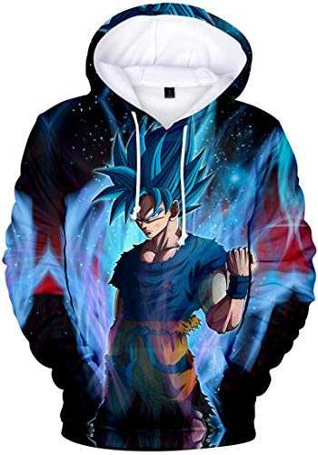 FLYCHEN Garçon Sweats à Capuche 3D Impression Dragon Ball Super Manches Longues Sweat Shirt avec Poche Sportif(Flamme Bleu 00826, L)