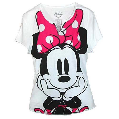 Disney Womens Minnie Mouse Tee Shirt Top, Medium, White