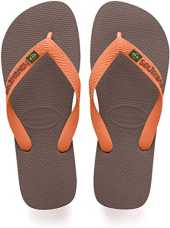 Havaianas Brasil Logo 4110850, Infradito Unisex Adulto, Marrone (Dark Brown/Orange), 33/34 EU