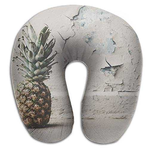 Memory Foam Neck Pillow Pineapple Broken Wall U-Shape Travel Pillow Ergonomic Contoured Design Washable Cover for Airplane Train Car Bus Office